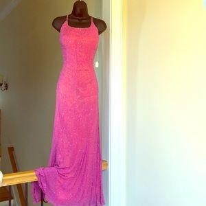 SCALA sz L gown formal beaded cruise prom dress